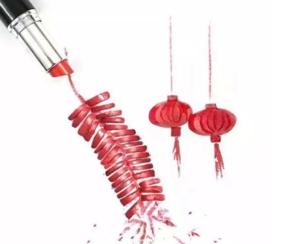 口红画出的鞭炮与灯笼