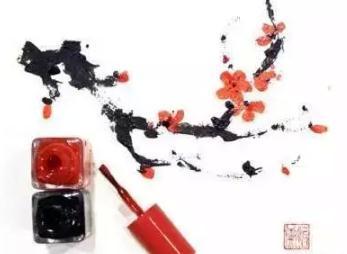 用指甲油画出一抹春天的桃花!