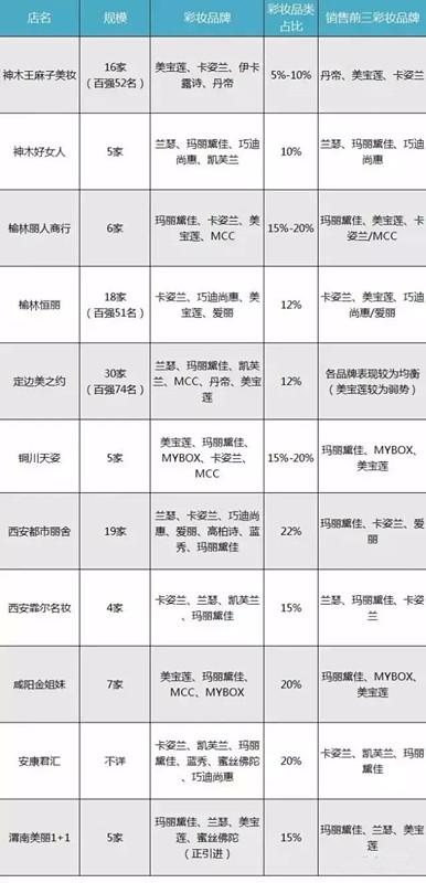 11家化妆品连锁彩妆调研表:
