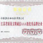 江苏省质量文明诚信AAA级优秀品牌企业2020年4月发证书